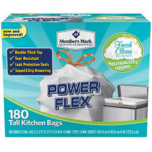 Member's Mark Power Flex Tall Kitchen Simple Fit Drawstring Bags with Fresh Clean Scent (13gal., 180ct.)